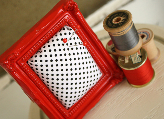 framed pin cushion from a diamond in the stuff