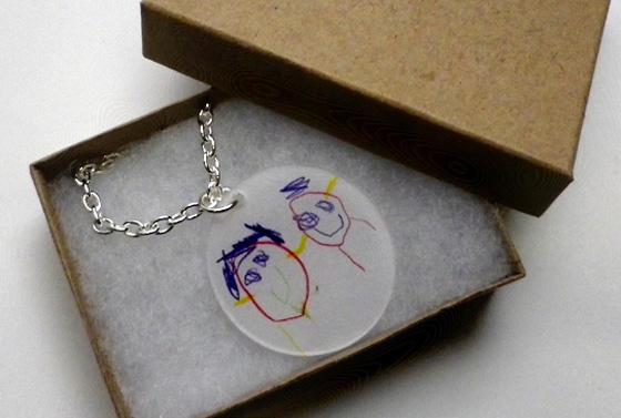 kid art shrinky dink necklace